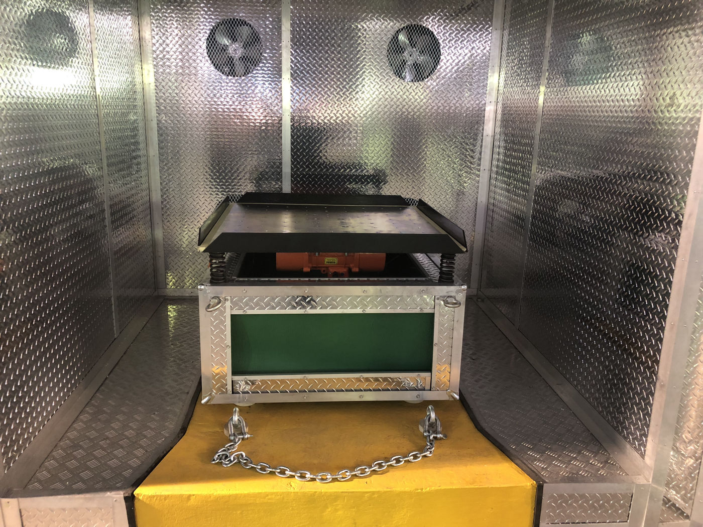 Vibration Table within Walk-In Temperature Controlled Chamber